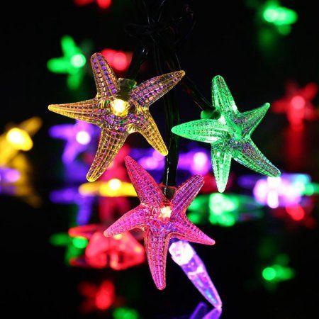 Qedertek Fairy Christmas Lights Starfish Solar String Lights 20ft 30