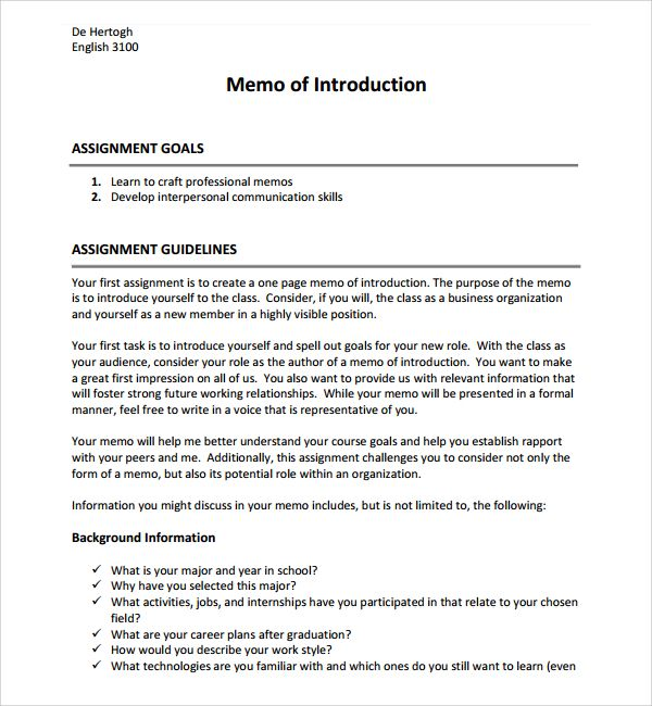 Sample Business Introduction Letter - 9+ Free Documents in PDF - formal memo template