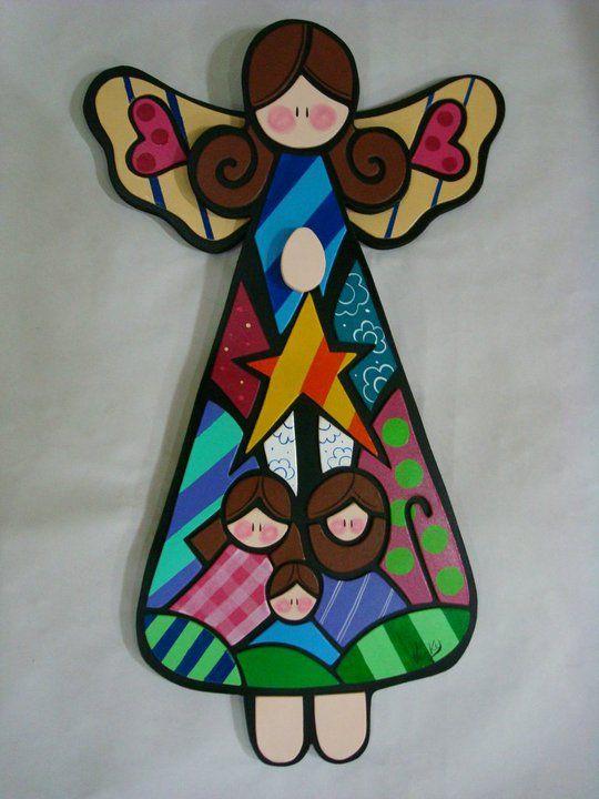 Angel con nacimiento ngeles pinterest - Angeles de navidad manualidades ...