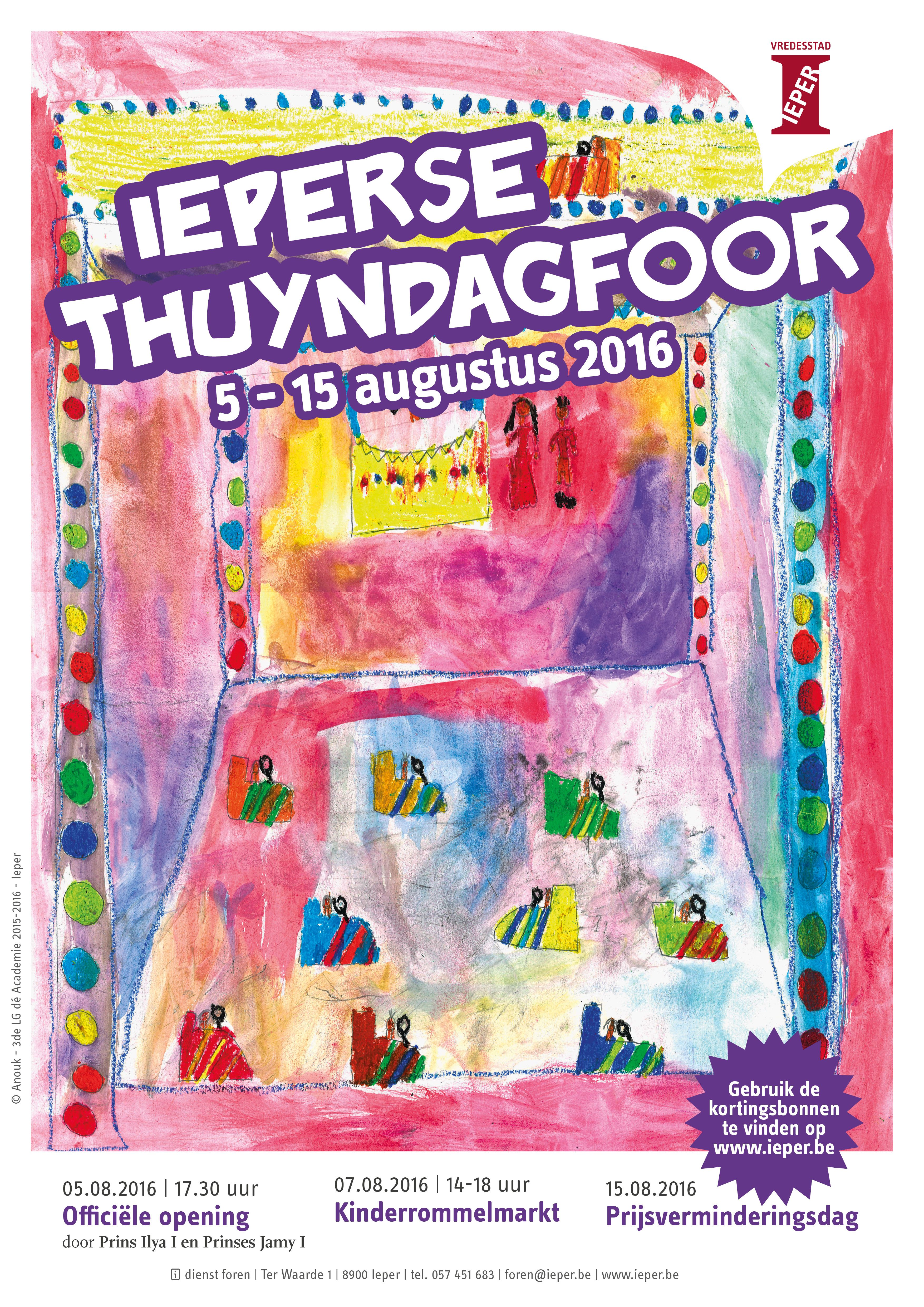 Affiche voor de Ieperse Thuyndagfoor 2016, met medewerking van de leerlingen 3de lagere graad dé Academie Ieper. (artwork: Anouck/Stad Ieper )