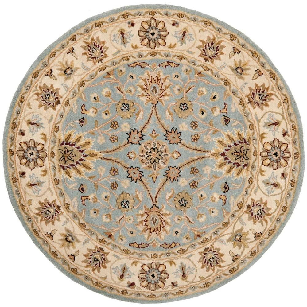 Safavieh Antiquity Light Blue Ivory 8 Ft X 8 Ft Round Area Rug At249a 8r The Home Depot Traditional Area Rugs Vintage Area Rugs Area Rugs