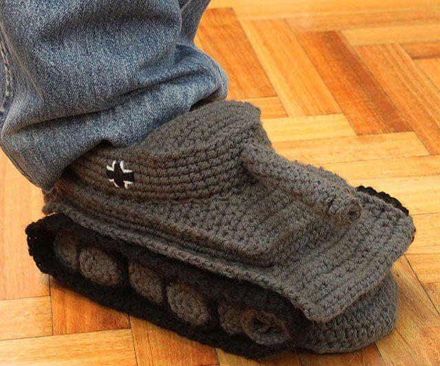 Crochet Super Cool Panzer Tank Slippers   Crochet slippers ...