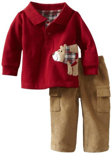 Mud Pie Baby Boys Infant Fuzzy Bear Polo Shirt And Pant Set Multi