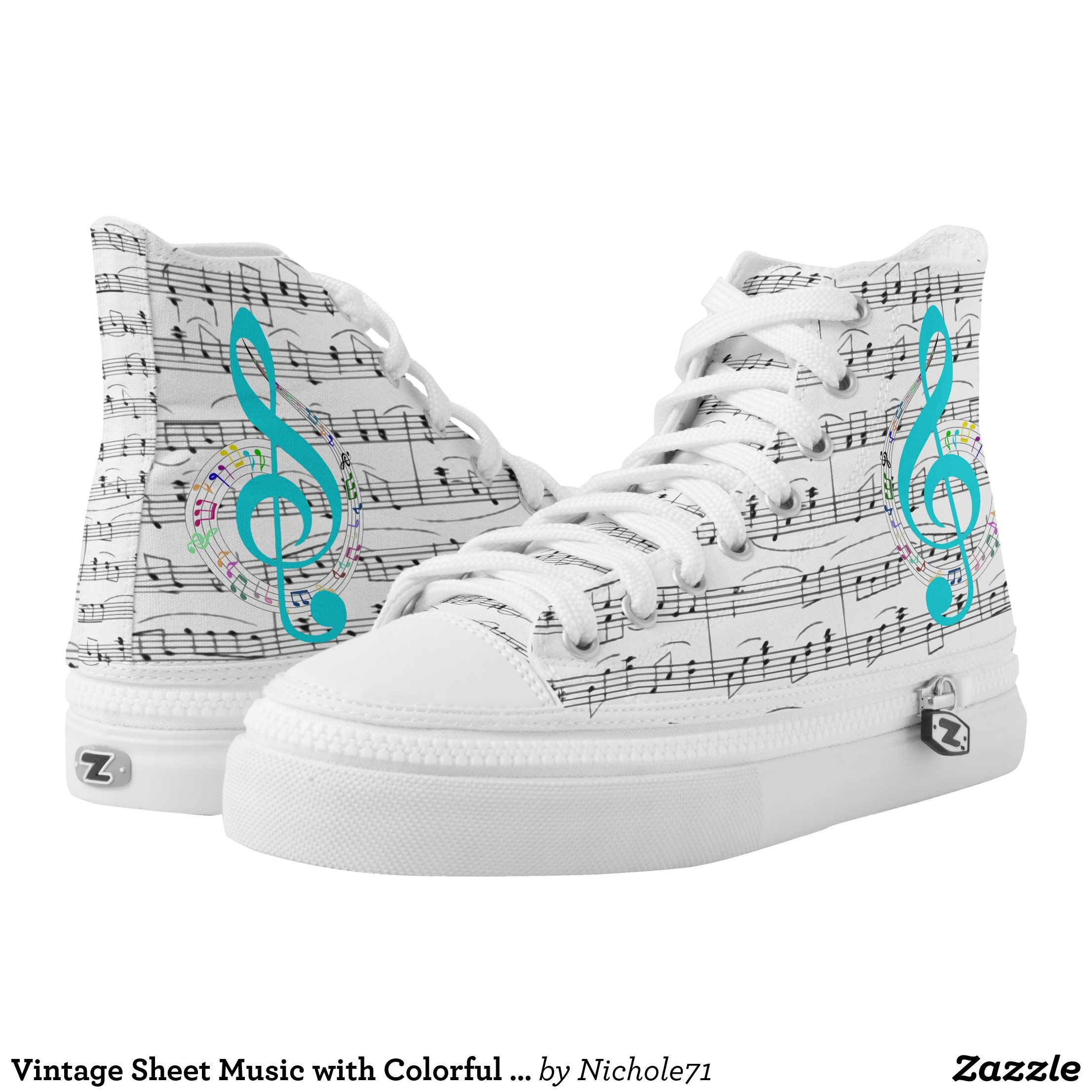 d437f466b1 Vintage Sheet Music with Colorful Music Notes High-Top Sneakers ...