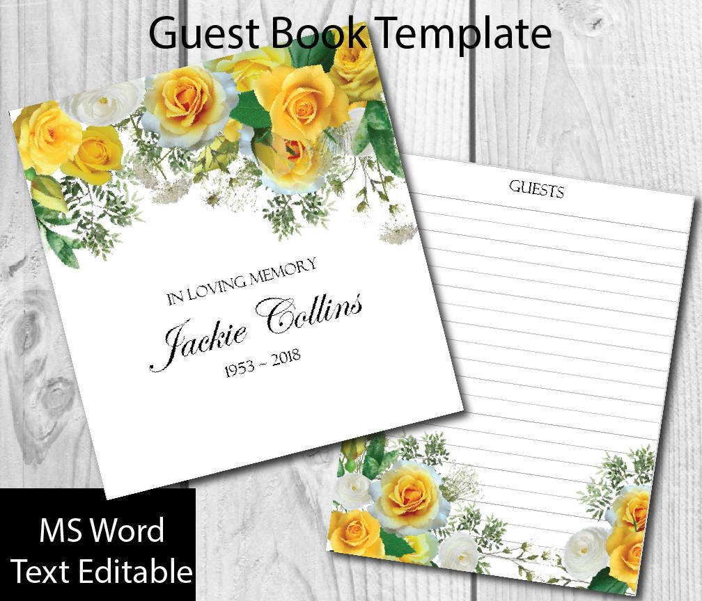 yellow roses guest book template diy guest book funeral