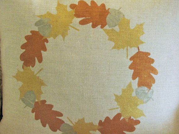 Fall PILLOW COVER Linen Hand Stenciled Fall Leaves by Inspireren