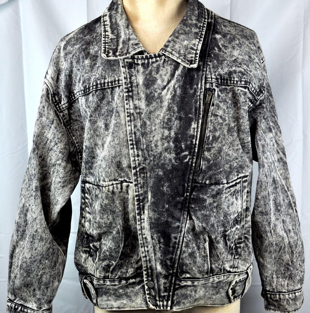 0936c2adc Urban Equipment Vintage Acid Wash Mens Jean Jacket XL Black Denim ...