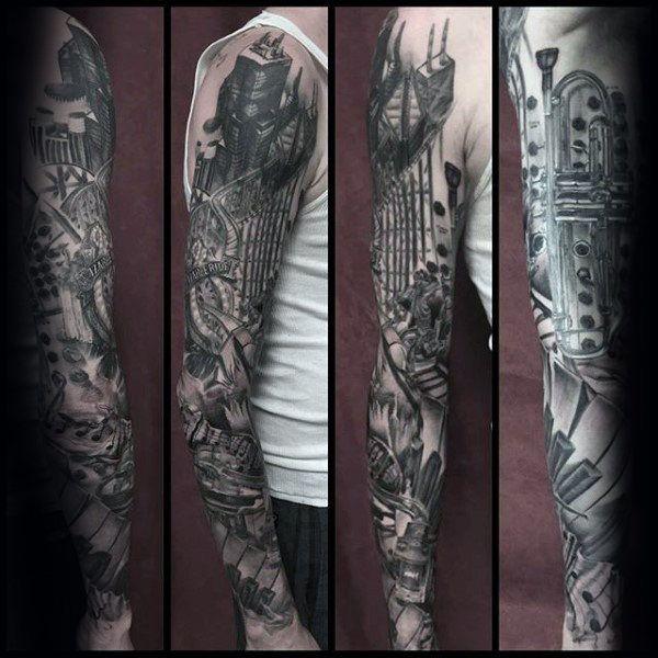 60 Music Sleeve Tattoos For Men Lyrical Ink Design Ideas Music Tattoo Sleeves Tattoo Sleeve Men Arm Sleeve Tattoos