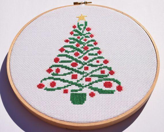 Christmas tree cross stitch pattern / Modern Christmas cross stitch ...