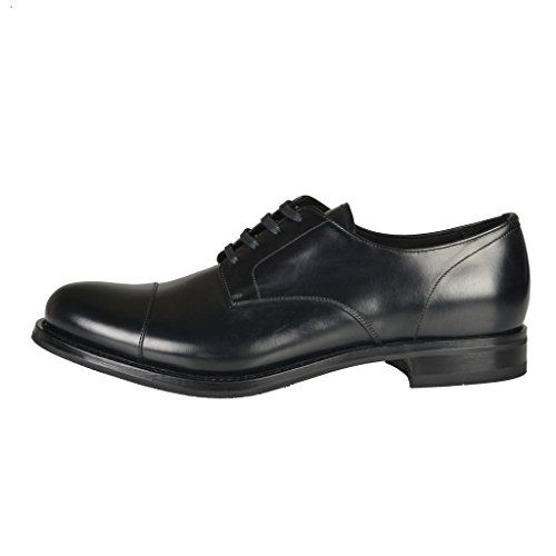 @>>  Prada Men's Black Leather Lace Up Oxfords Shoes US 8 IT 7 EU 41;