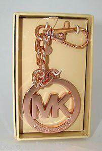 Michael Kors Mk Key Chain Handbag Charm Rose Gold Clutches Handbags