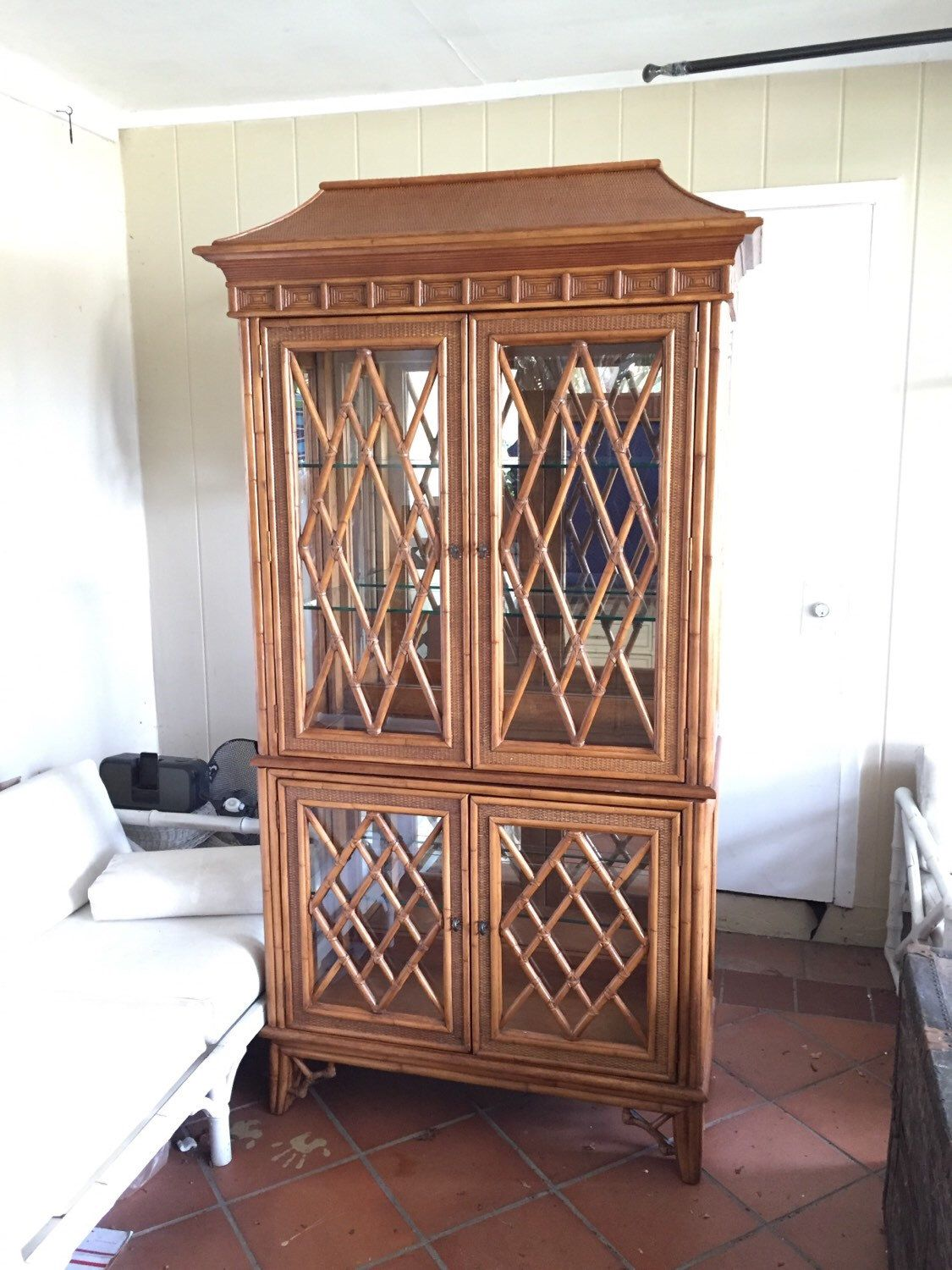 Chippendale China Cabinet Vintage Rattan Pagoda Chippendale China Cabinet Palm Beach