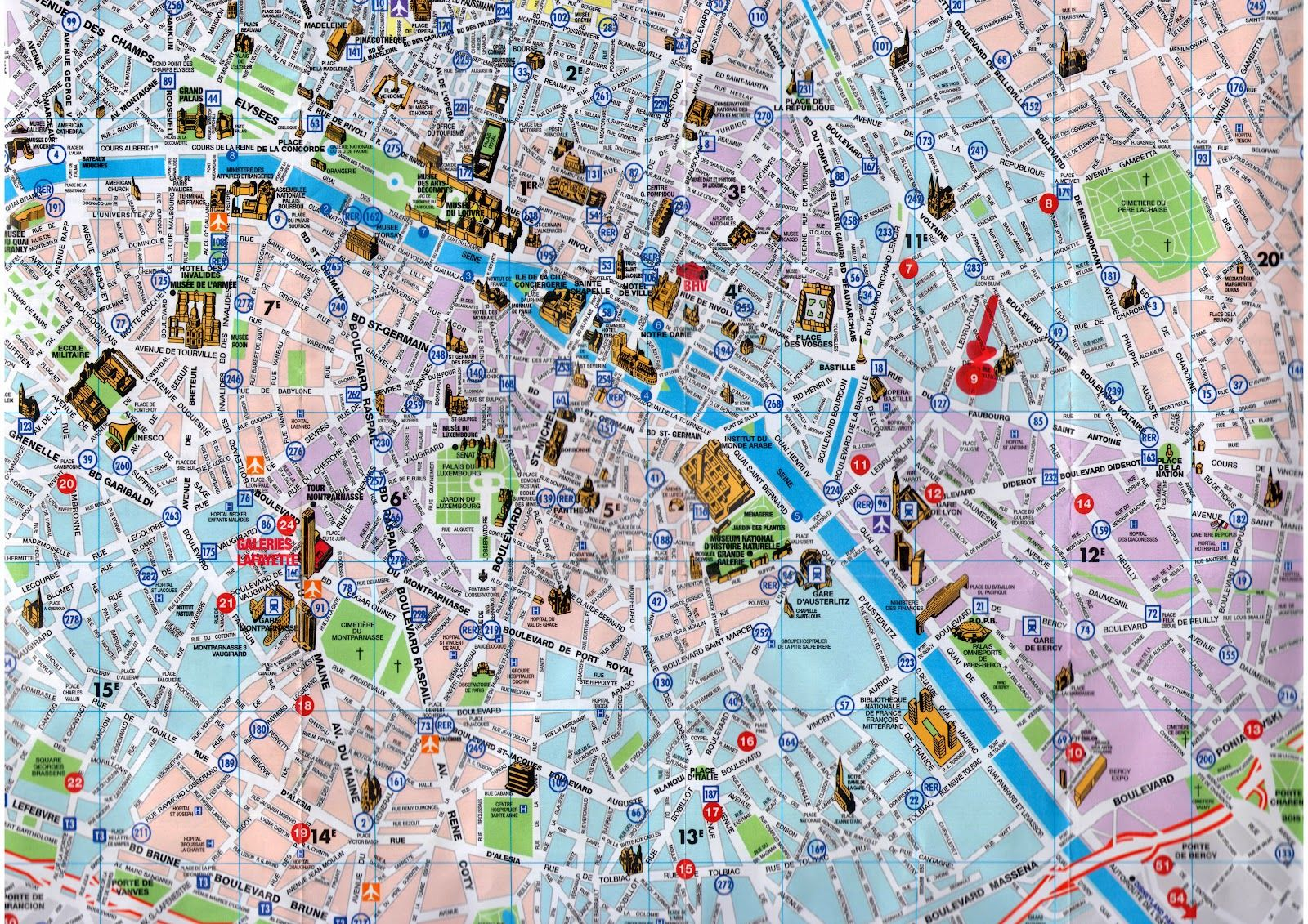 Map Paris Tourist City Metro And Printable
