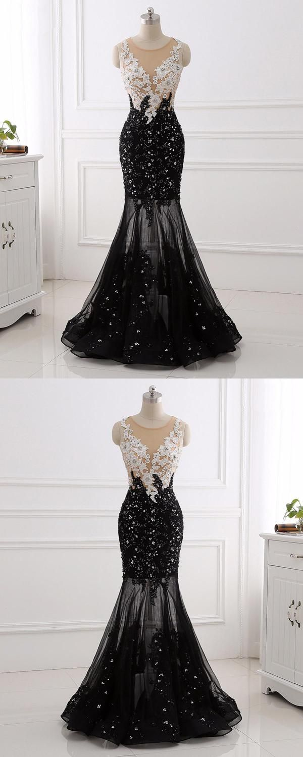 White lace black mermaid white lace qprom prom dresses