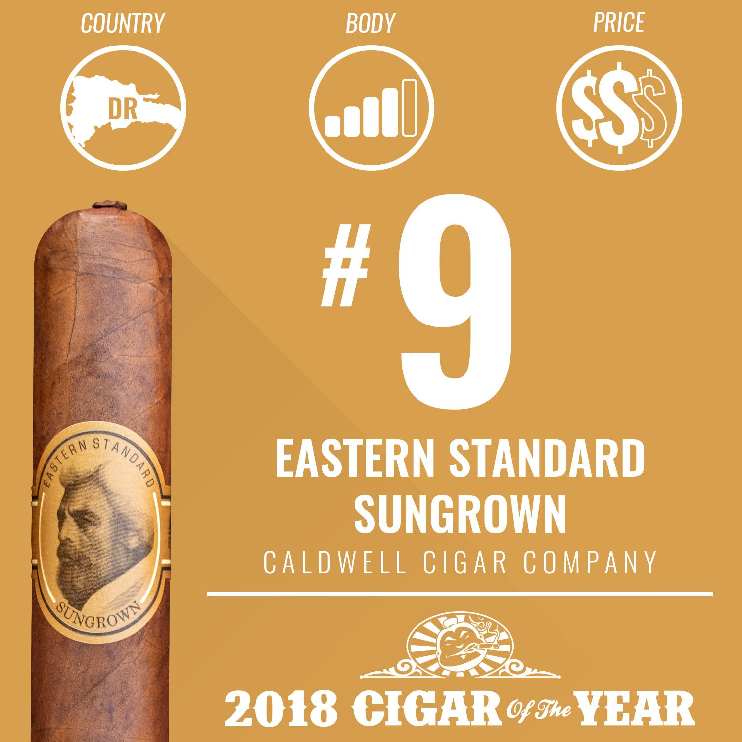 No. 9 Cigar of the Year 2018 – Eastern Standard Sungrown
