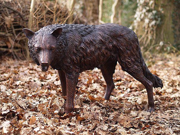 Bronzeskulptur wolf dekoration f r heim und garten for Heim und garten