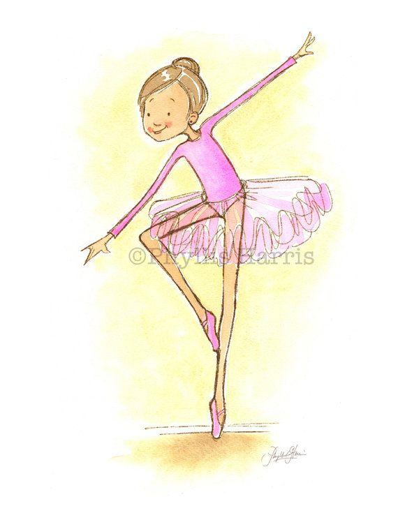 Girl\'s Wall Art - Ballerina with customizable hair color - Ballerina ...