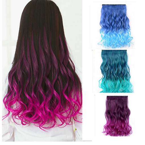Full head clip in gradient synthetic hair extensions women full head clip in gradient synthetic hair extensions women straight curl piece pmusecretfo Choice Image
