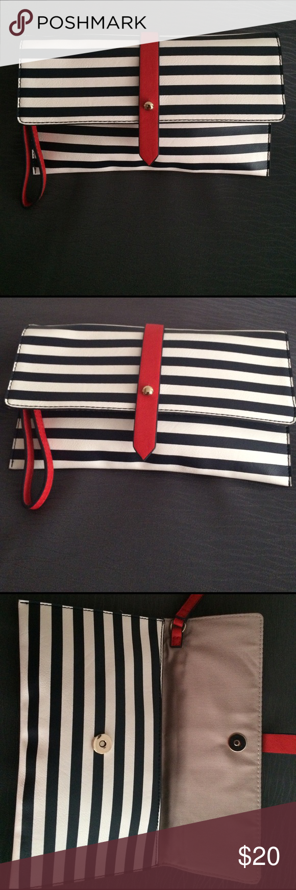 Patriotic Clutch Purse Red, white, and blue, striped clutch purse with snap closure. The Limited Bags Clutches & Wristlets
