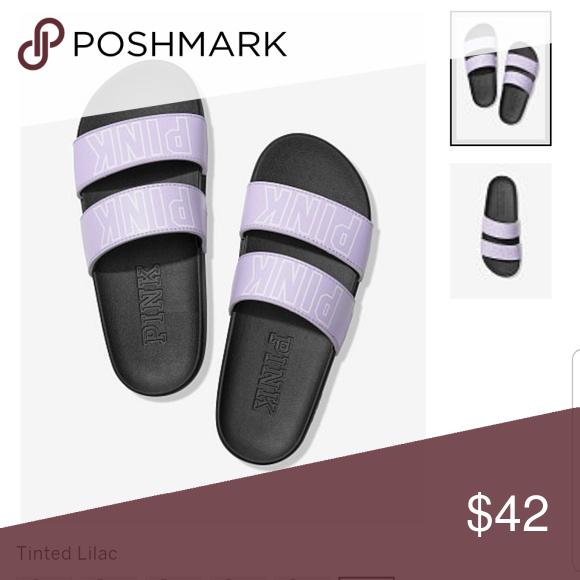 fe3fc0d2737a0 PINK Victoria's Secret Shoes | New! Vs Pink Slides | Color: Purple ...