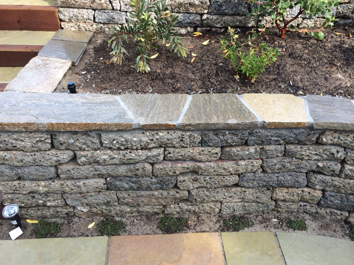 Recycled Concrete Retaining Wall Cap Leila Residence Landscaping Retaining Walls Outdoor Landscaping Garden Retaining Wall