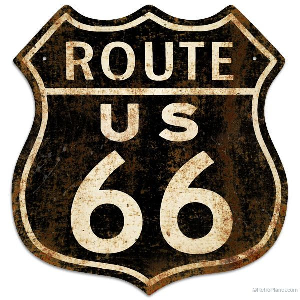 Route 66 Rusty Vintage Style Metal Sign | Retro Tin Signs | RetroPlanet.com