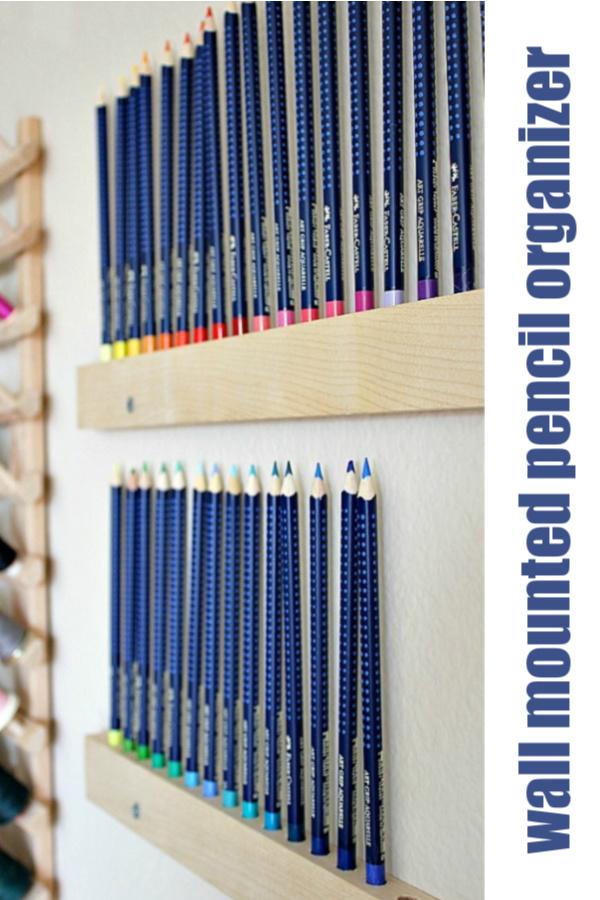 Handmade Wall Mounted Pencil Holder Pencil Organizer Pencil