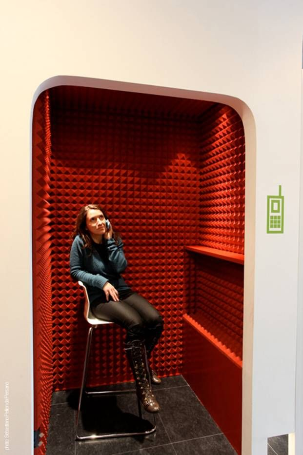 Here is another phone booth concept.  Love the sound proofing on the inside of this one. www.ofw.com/pinterest