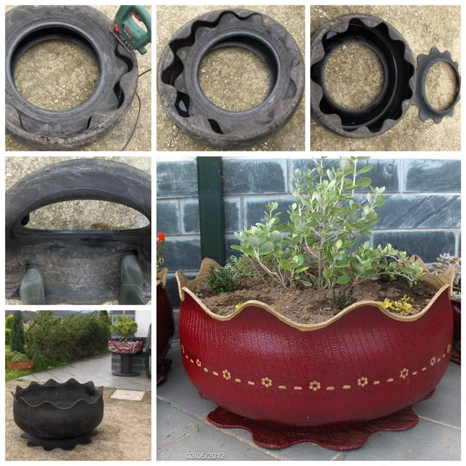 upcycle old tyres into attractive planters for the garden