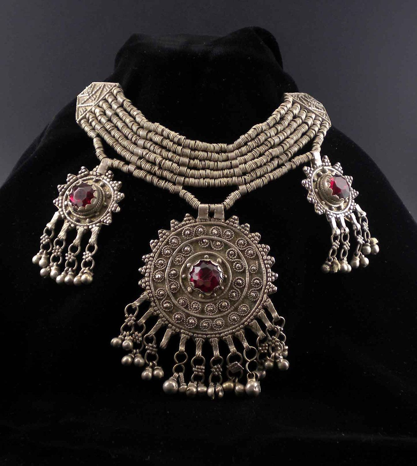 Syria | Vintage Bedouin necklace | Silver (usually low content) with red glass stones