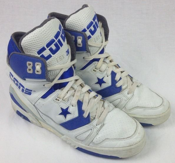 395a61763d3 RARE Vintage 80 s Mens 10 Converse Cons ERX 260 White Blue 5F9001 Converse  Basketball Shoes