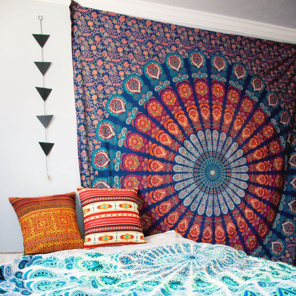 Sunset Peacock Mandala Tapestry images