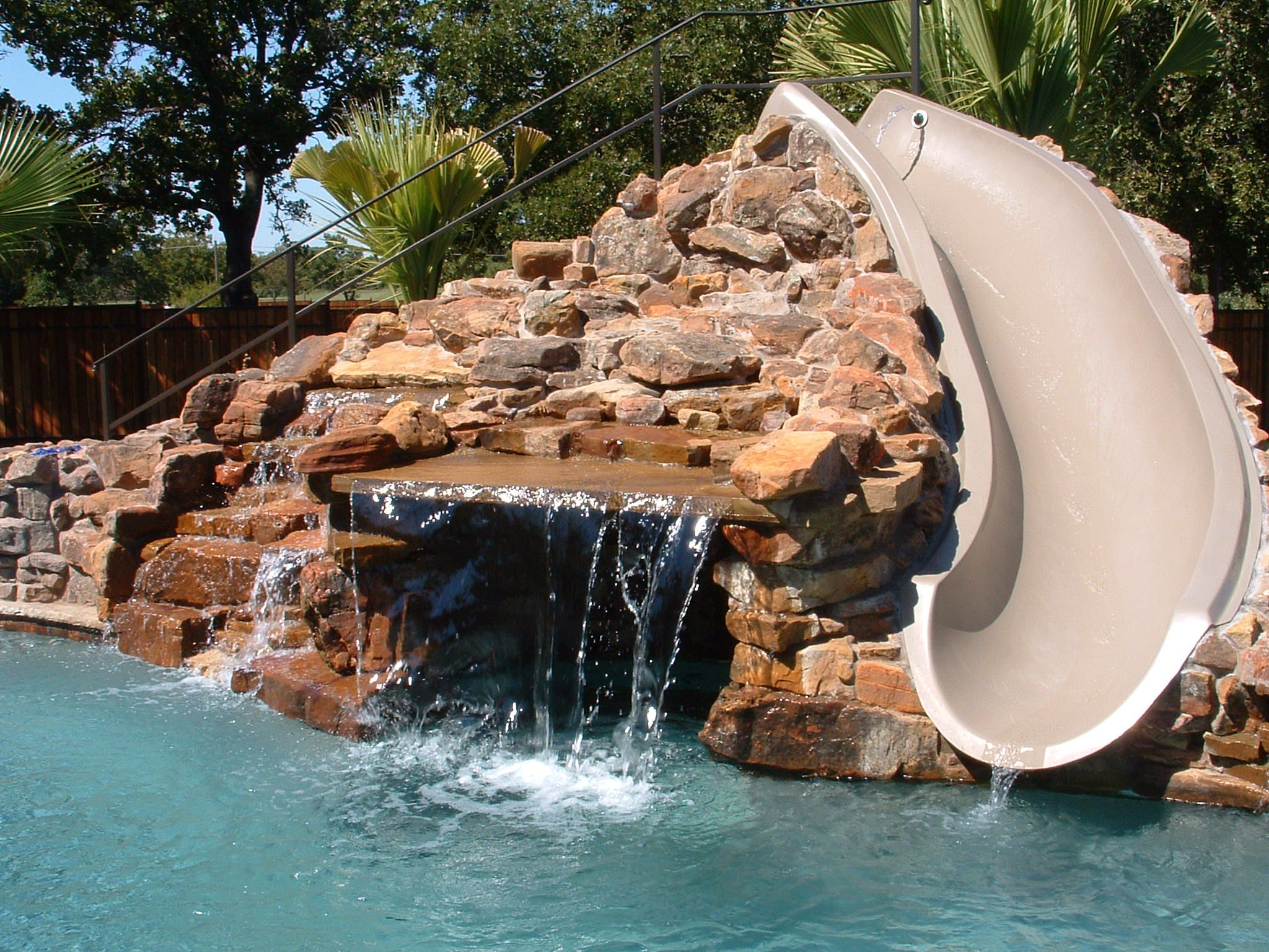 Pool Grotto With Slide Swimming Pool Slides Pool Water Features