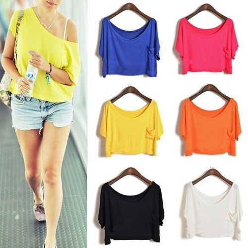 Womens Candy Color Short Sleeve Casual T-Shirt