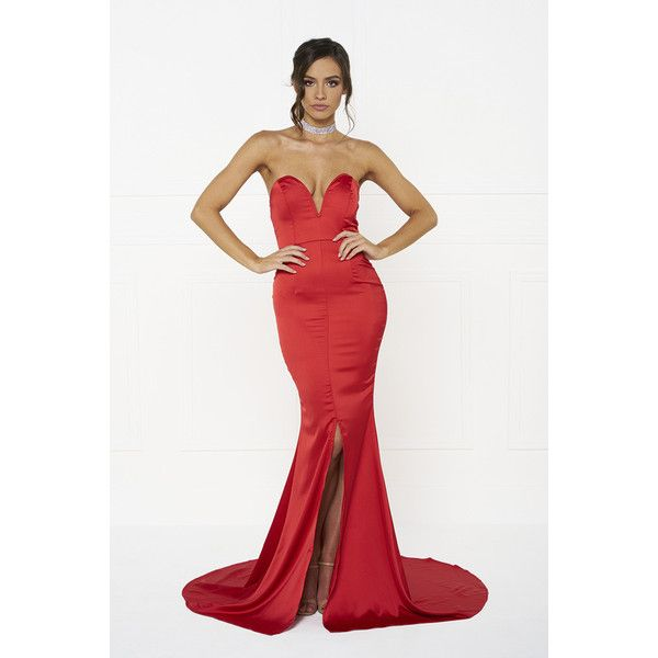 Honey couture melina red strapless formal gown dress ($189) ❤ liked ...