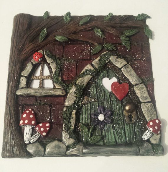 Polymer Clay Faerie Door Scene in a glass front shadow box frame by Heather\u0027s Craft Studio & Polymer Clay Faerie Door Scene in a glass front shadow box frame ...