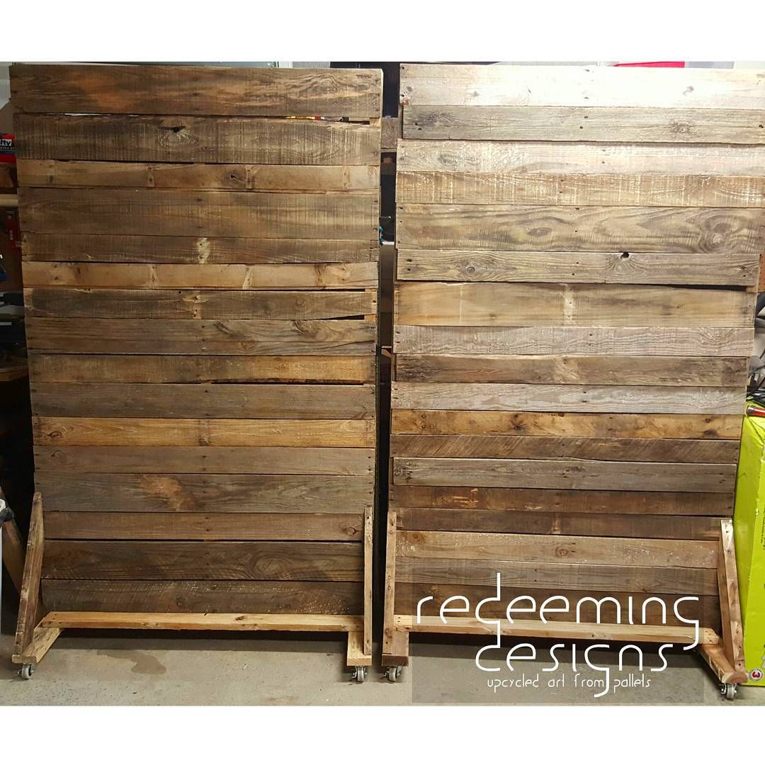 """1125c7ab13649 """"More rolling pallet walls in production! You can see these in person this  Sunday at @homechurchnash #redeemingdesignstn #pallets #wall #palletwall…"""""""