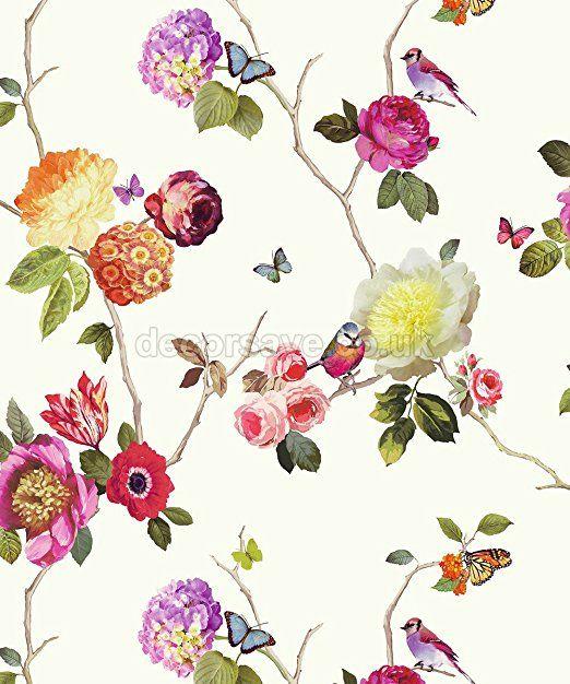 Arthouse Tapete verzauberte Blumen Vogel Schmetterling Rose ...