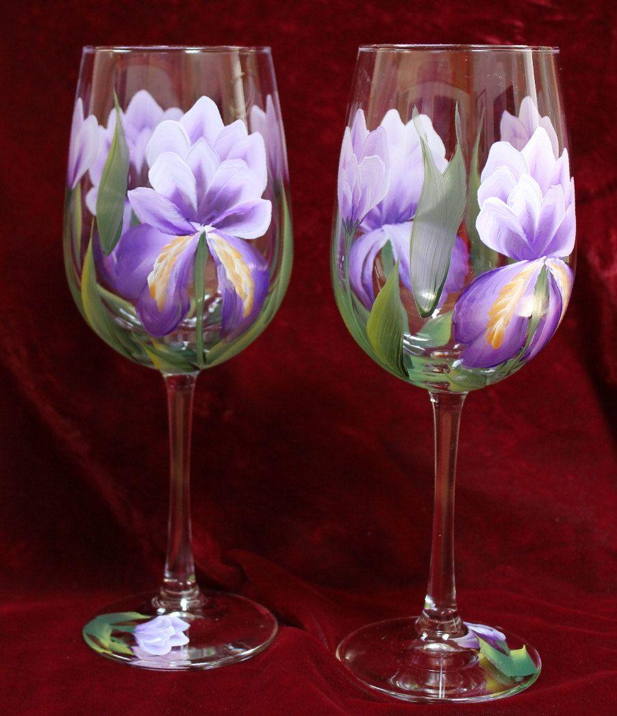 Hand Painted Wine Glasses Set Of 2 Purple Iris By Silkeleganceflorals On Hand Painted Wine Glasses Painted Wine Glasses Wine Glass Art