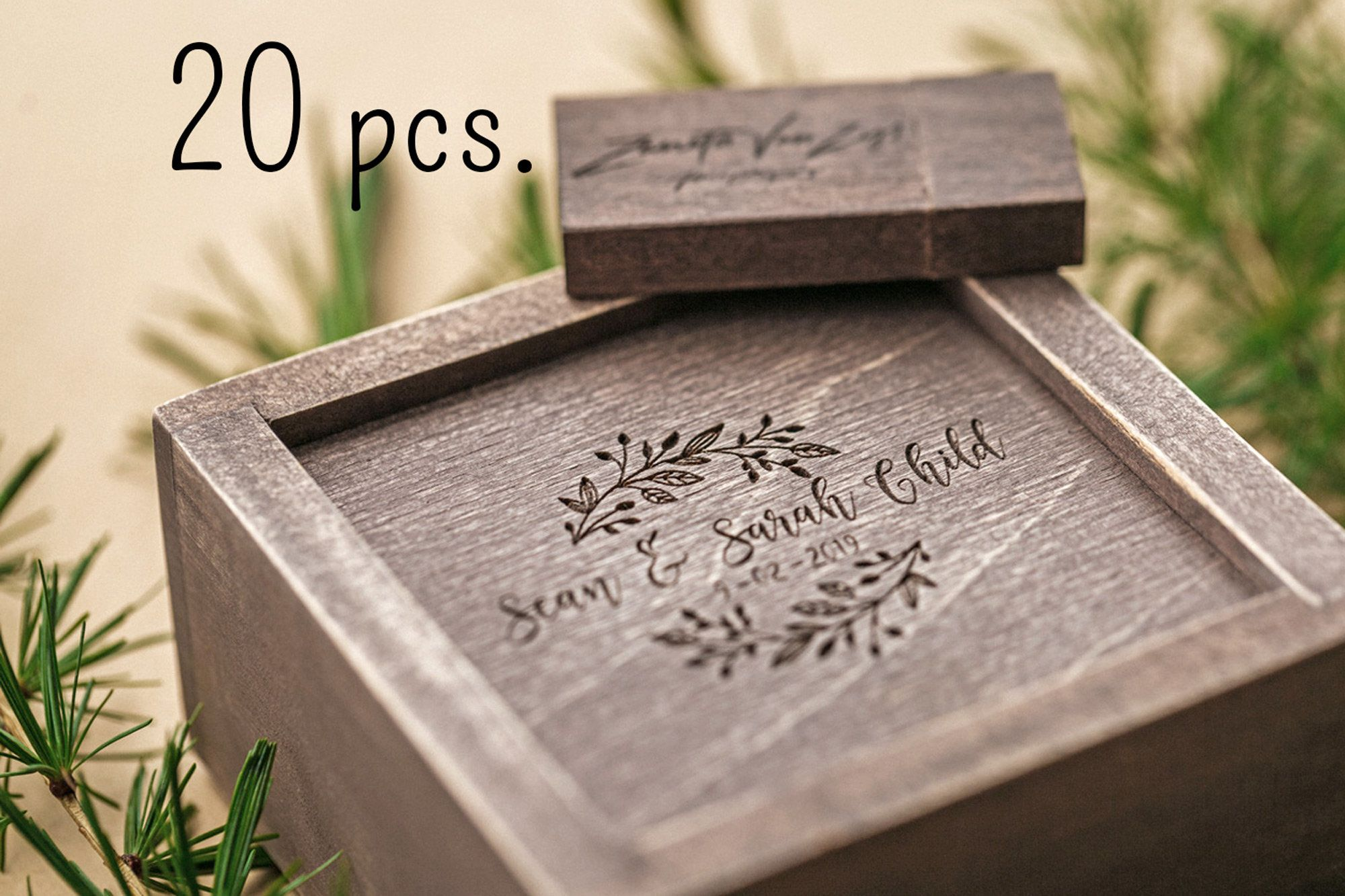 20 Wooden Usb Box With Wedding Personalised Usb Stick Optional Vintage Rustic Engraved Usb Box And Decorative Moss Filling