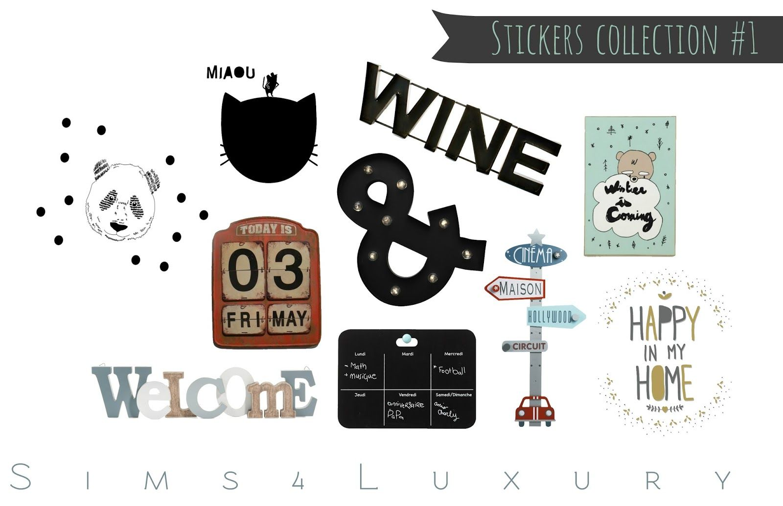 Stickers collection 1 sims4luxury