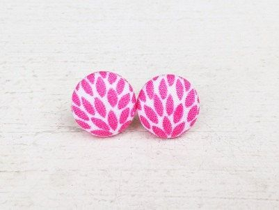 """Button Earrings - """"Peonies"""" Fabric Button Post by TheHosfordHousewife.Etsy.com.  Pink and white earrings, pink earrings, pretty earrings, simple earrings"""