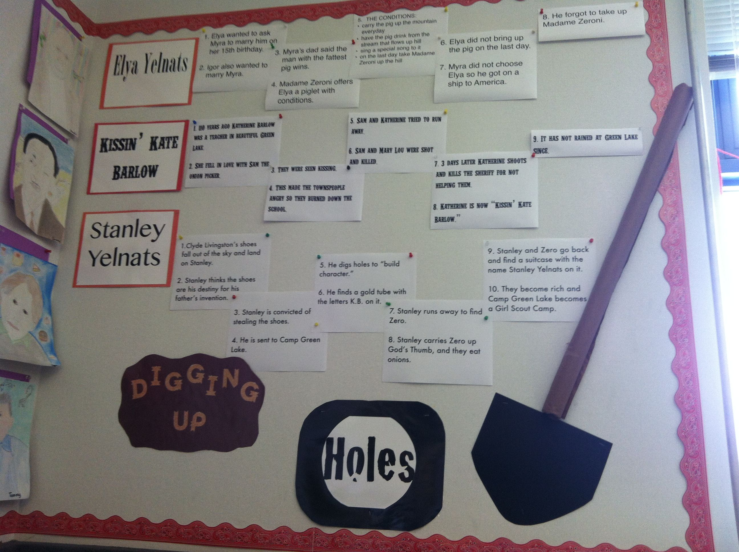 best holes images louis sachar middle school holes by louis sachar bulletin board summarizing the three story lines
