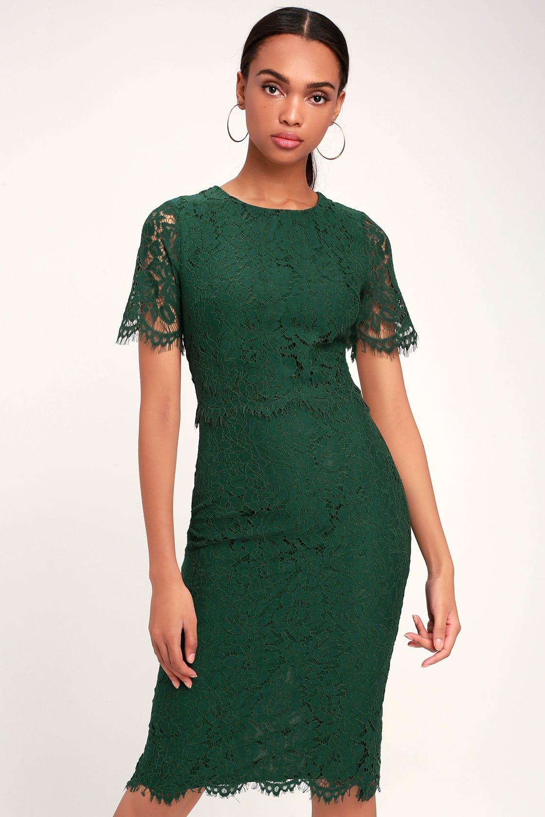 Devotion forest green lace short sleeve midi dress in 2020