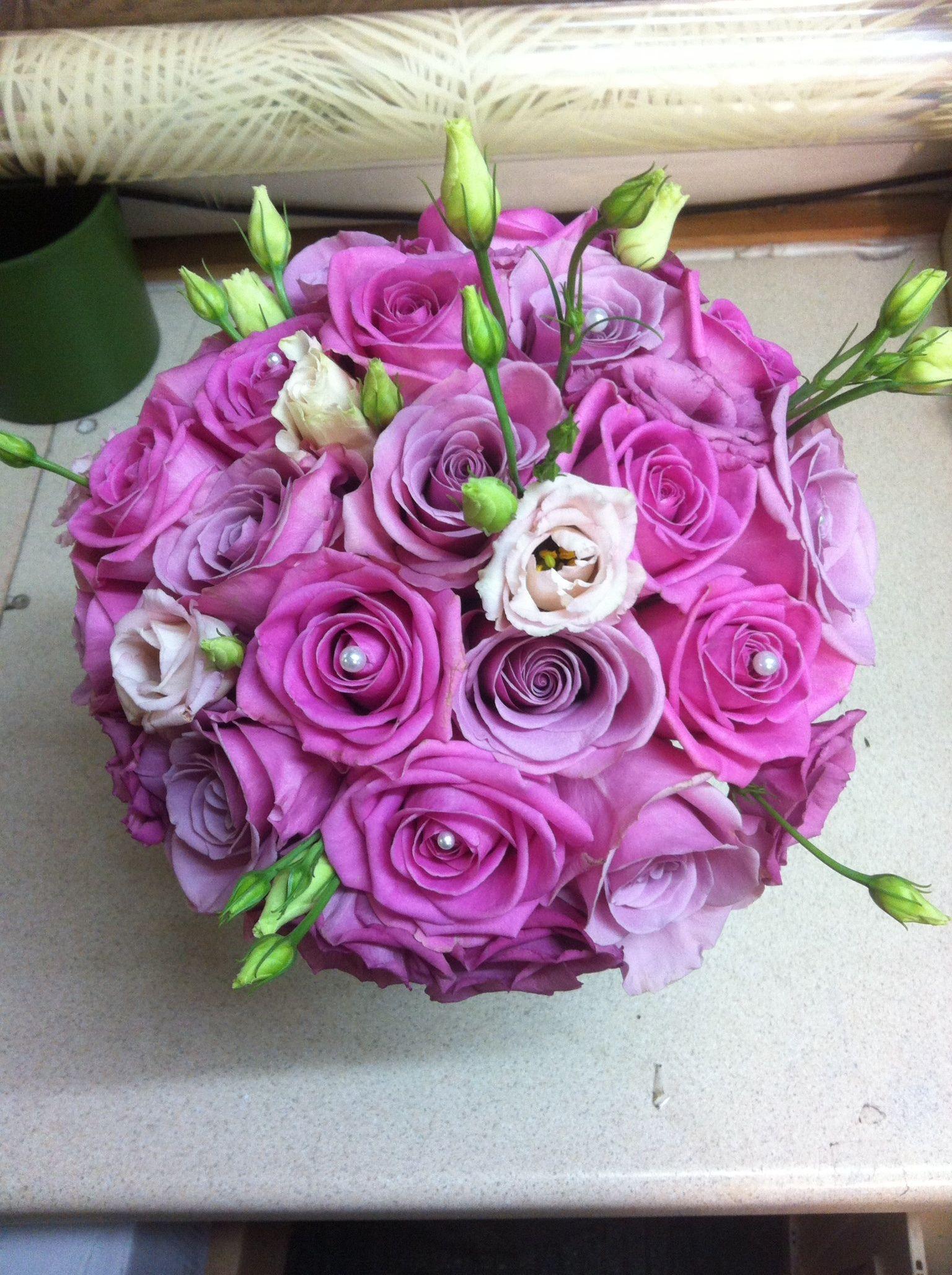 Rose & lisianthus round bridal bouquet | Pink wedding bouquets ...
