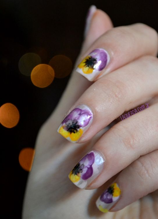 Pansy Nail Art Bloggversario Laqueada Nails Flower Nails Flower Nail Art