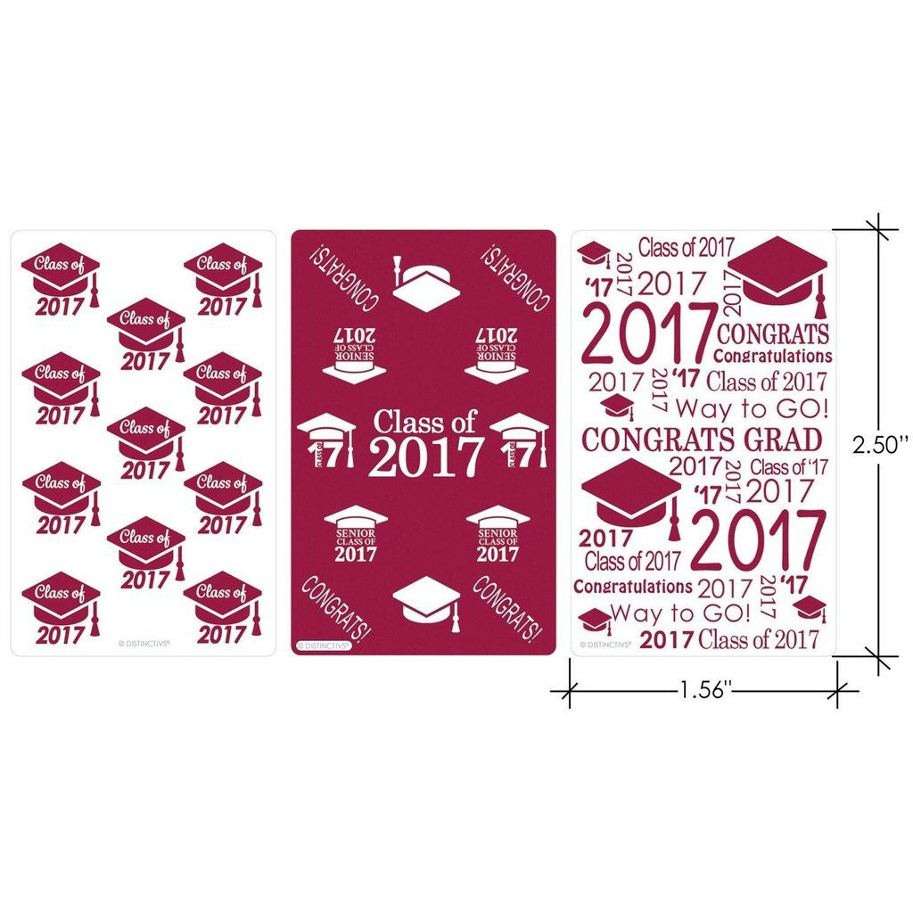 Maroon Class of 2017 Graduation - Mini Candy Bar Stickers (Set of 54 ...