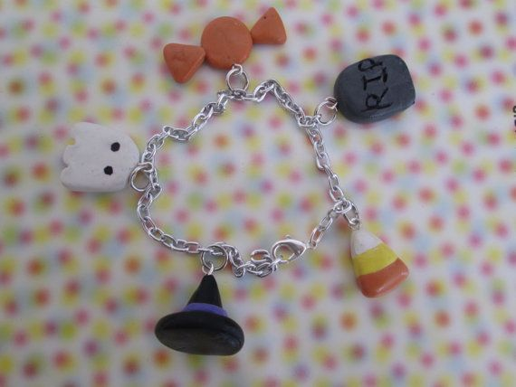 Polymer Clay Halloween Charm Bracelet by MacsAmazingCharms on Etsy, $6.95
