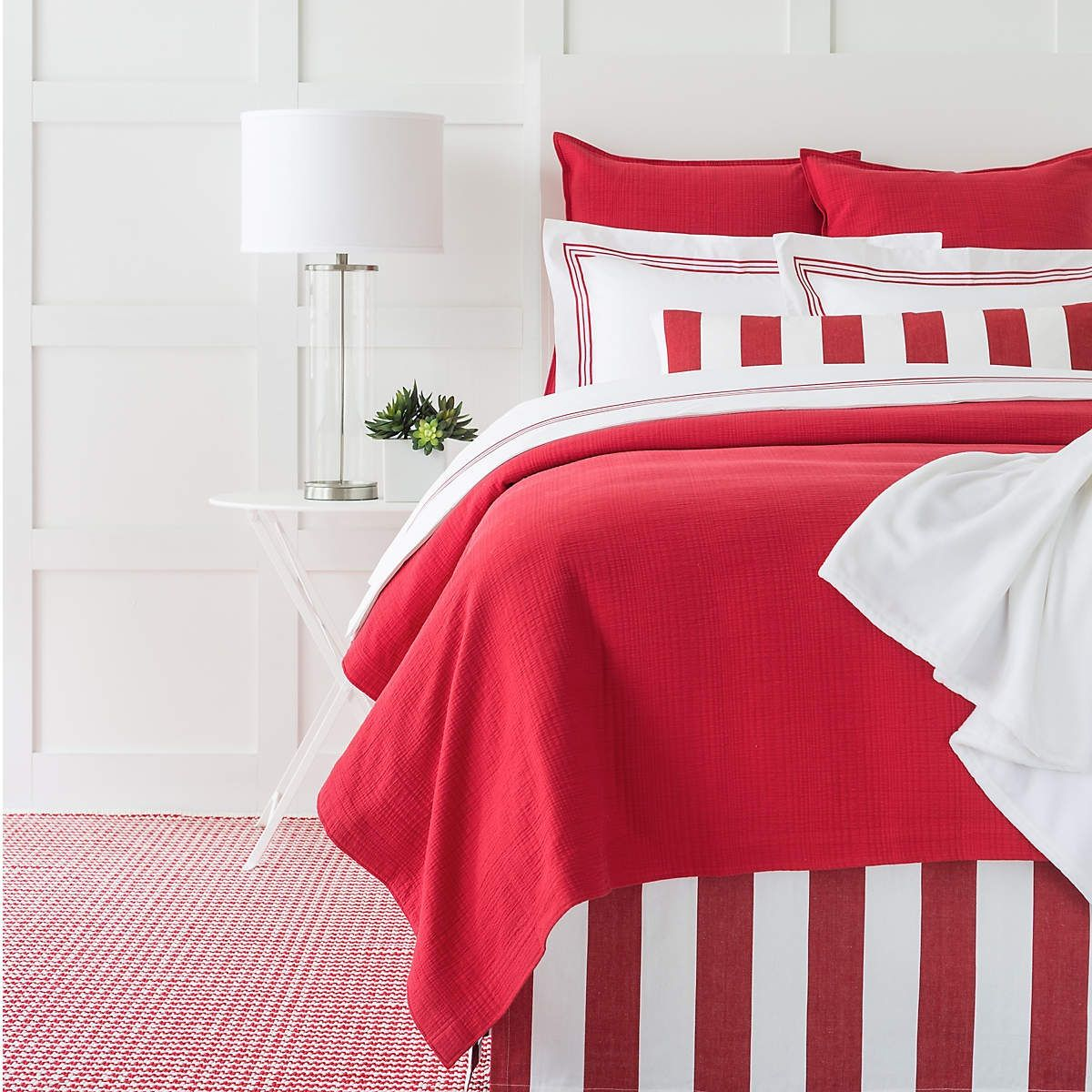 Kelly Red Matelassé Coverlet Pine Cone Hill Bedding