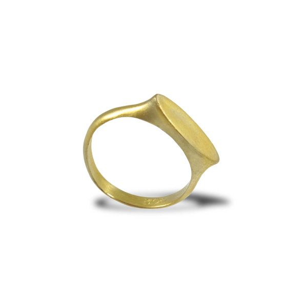 Yellow Gold Pinky Ring Oval Signet Ring Personalized Gift Ring